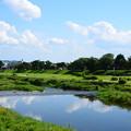 夏空を映す賀茂川
