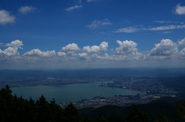 夏雲の下の琵琶湖