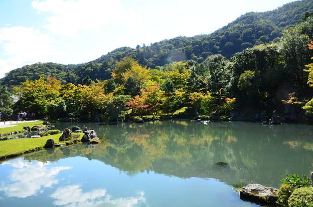 秋空を映す曹源池