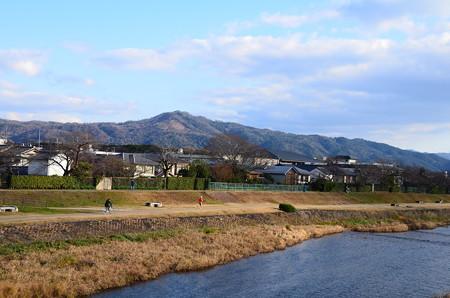 新春の賀茂川と大文字