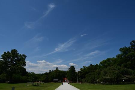青空の下の上賀茂神社