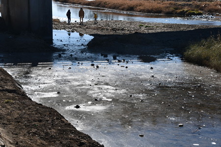 氷の張った賀茂川