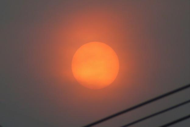 煙霧で赤くなった太陽_6473