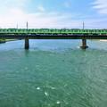 写真: 宇治川を渡る103系電車