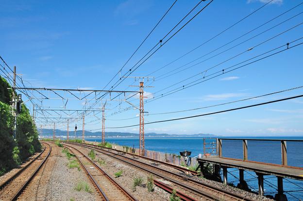 海が見える根府川駅