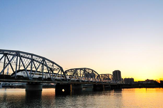 日没と鉄橋