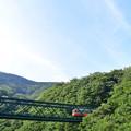 青い空と緑の山と鉄橋と登山電車