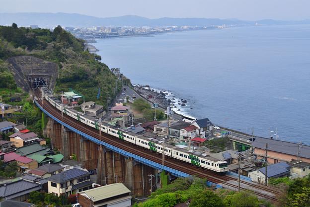 相模湾を見下ろす鉄橋を行く185系特急踊り子号