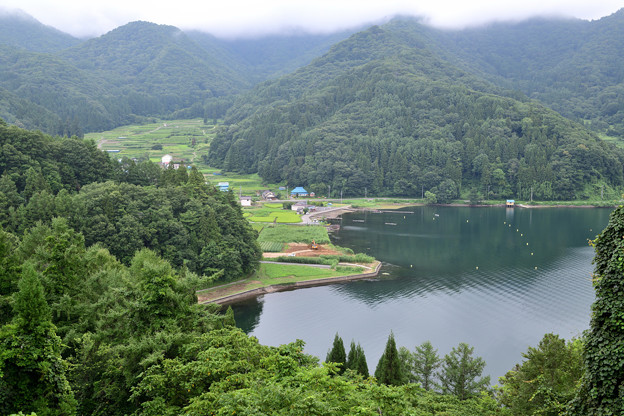 野尻湖と棚田