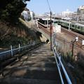 電車が見える階段