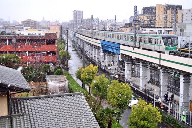 3月の降雪と東京メトロ千代田線05系電車