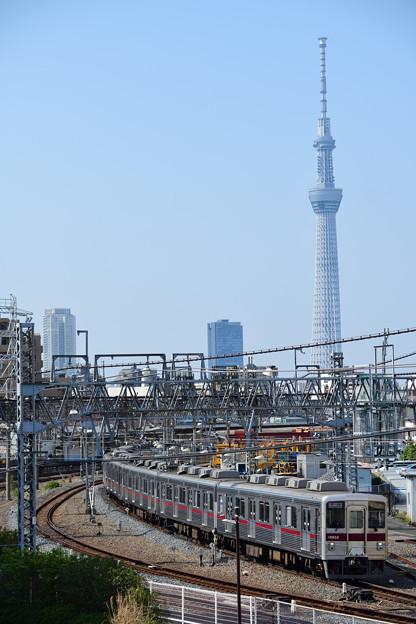 スカイツリーと東武鉄道10000型電車