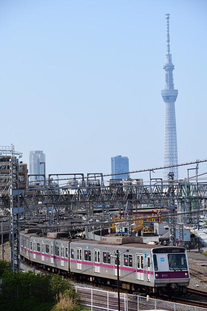 スカイツリーと東京メトロ8000系電車