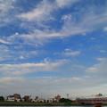 巻雲と中川を渡る鉄道風景