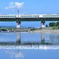 Photos: 水鏡の鉄橋を渡る中央線E351系特急形電車