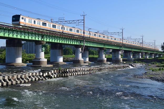 Photos: 多摩川橋梁を渡るE233系電車