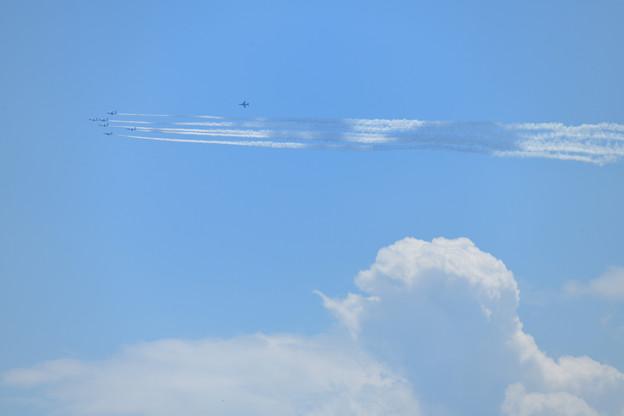 積雲上空を通過