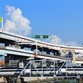 Photos: 綾瀬川の小さな鉄橋を渡る京成スカイライナー