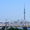 スカイツリーと荒川橋梁を渡る京成電鉄3400形電車