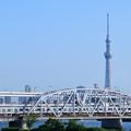スカイツリーと荒川橋梁を渡る京成電鉄3000形電車