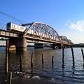 Photos: 珍しく現れた浜から見上げる荒川橋梁