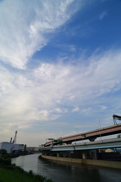 綾瀬川に沿って伸びる首都高速道路と雲