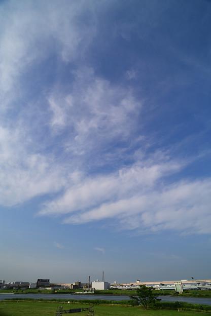 荒川河川敷と雲