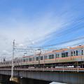 中川の鉄橋を渡る京成電鉄3100形電車
