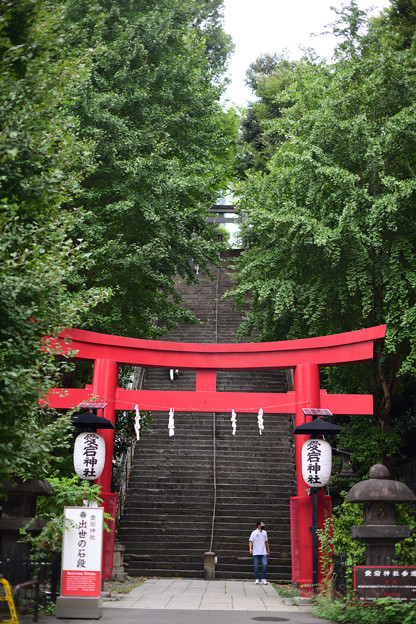 朱塗りの鳥居と出世階段