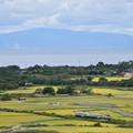 津軽海峡と北海道渡島半島を見下ろす丘から