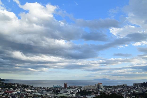 伊豆大島と初島が見える丘