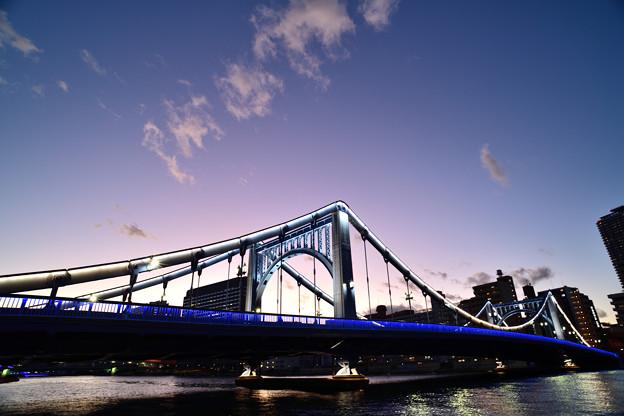 清洲橋 ライトアップ そして残照