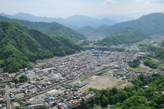 中央線 岩殿山俯瞰 大月駅から富士山方向を望む