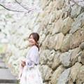Photos: 桜と石垣と、私。
