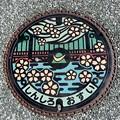 写真: 愛知県新城市カラーマンホール