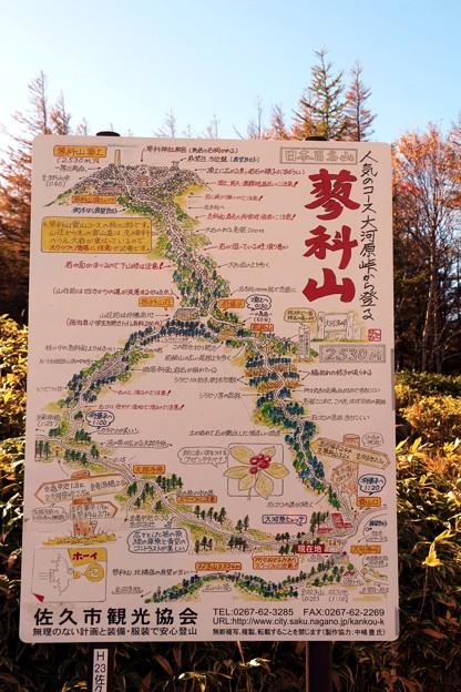 大河原峠から登る蓼科山案内図