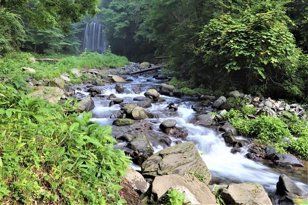 国道沿いから見る事の出来る唐沢の滝