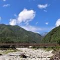 Photos: 太田切川に架かるこまくさ吊り橋