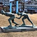「諏訪湖スケート」モニュメント
