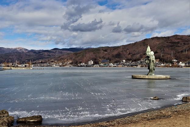 凍結の諏訪湖
