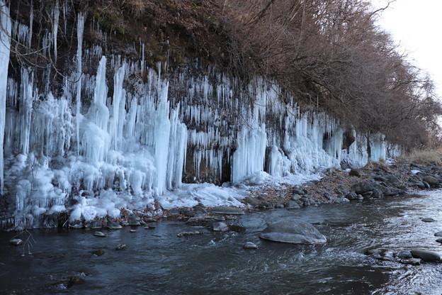 鹿曲川沿い約250mの氷柱群