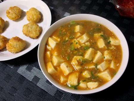 麻婆豆腐&鶏の唐揚げ