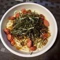 高菜とソーセージのパスタ