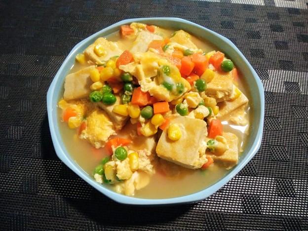 高野豆腐とミックスベジタブルの玉子とじ