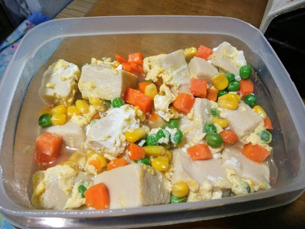 高野豆腐とミックスベジタブルの卵とじ