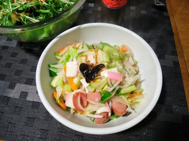 水菜とツナのサラダ&皿うどん