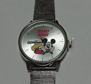 SPRiNG ミッキーマウス 洒落る!シルバー腕時計