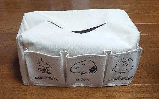 GLOW スヌーピー 収納6ポケット ティッシュBOXカバー