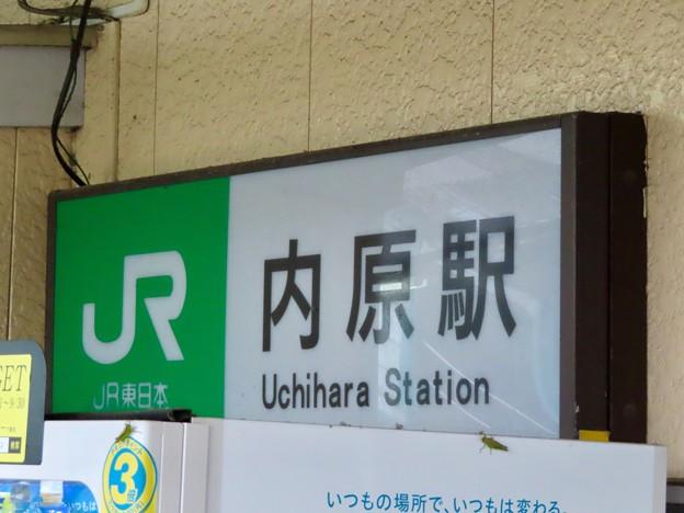 内原駅 駅舎のホーム側の壁に掲載された看板