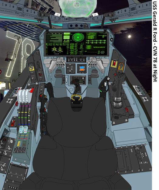 CVN-78甲板上の「VFH-10D オーロラン」(月夜)